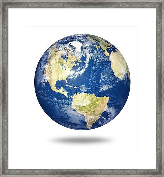 Planet Earth On White - America Framed Print