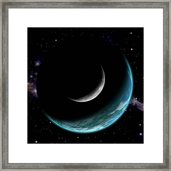 Planet With Moon Framed Print