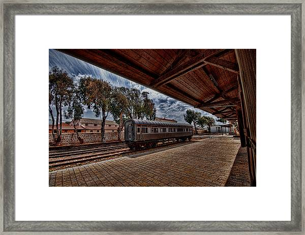 platform view of the first railway station of Tel Aviv Framed Print