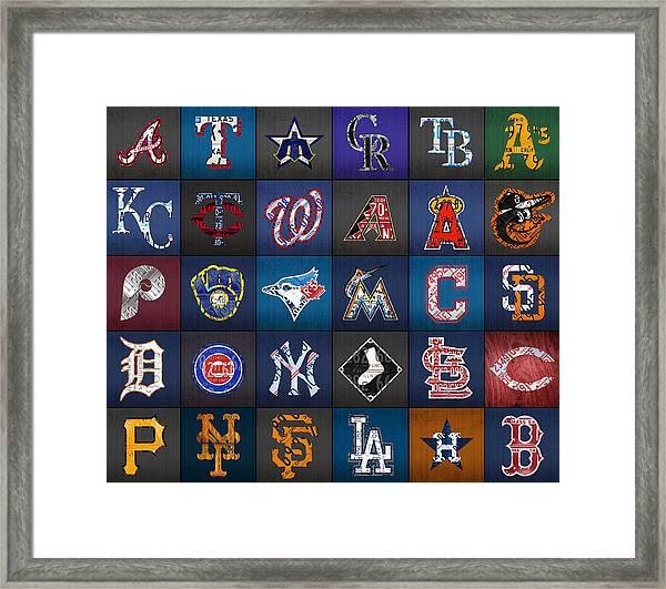 Play Ball Recycled Vintage Baseball Team Logo License Plate Art Framed Print