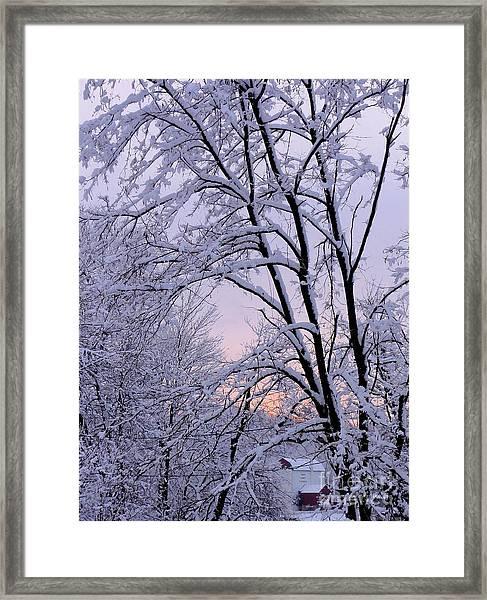 Playhouse Through Snow Framed Print