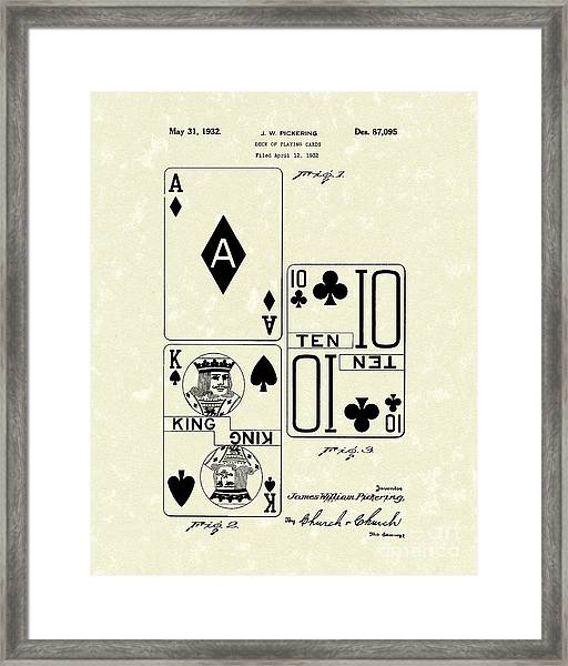 Playing Cards 1869 Patent Art Framed Print