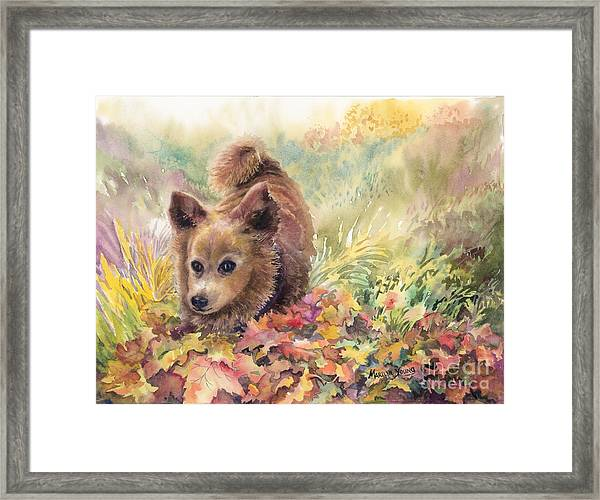 Playing In The Leaves Framed Print