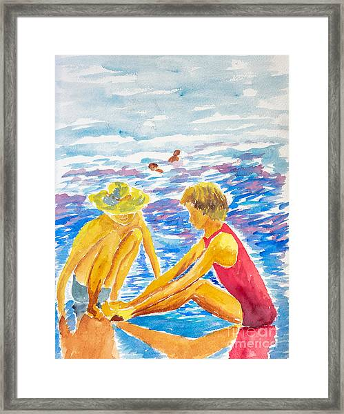 Playing On The Beach Framed Print