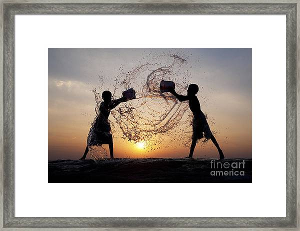 Playing With Water Framed Print