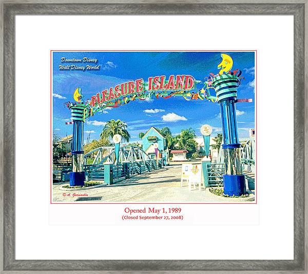 Pleasure Island Sign And Walkway Downtown Disney Framed Print