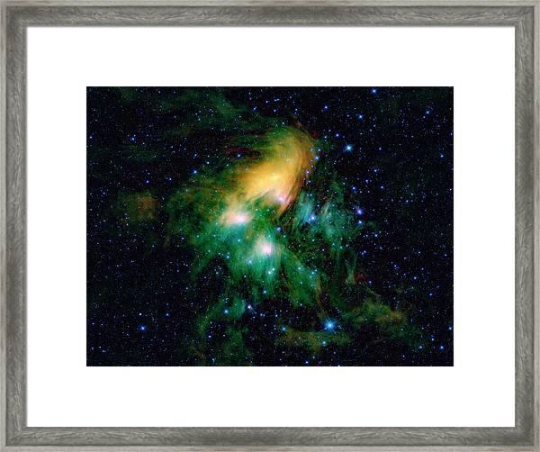 Pleiades Star Cluster Framed Print by Nasa/jpl-caltech/ucla/science Photo Library