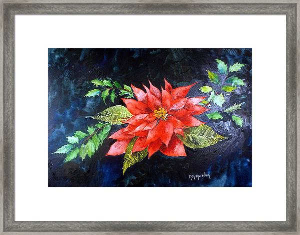 Poinsettia And Holly 2012 Framed Print