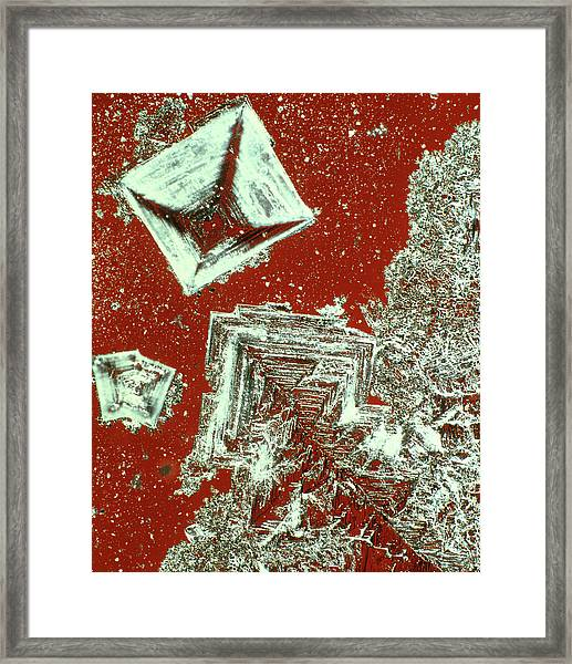 Polarised Light Micrograph Of Salt Crystals Framed Print