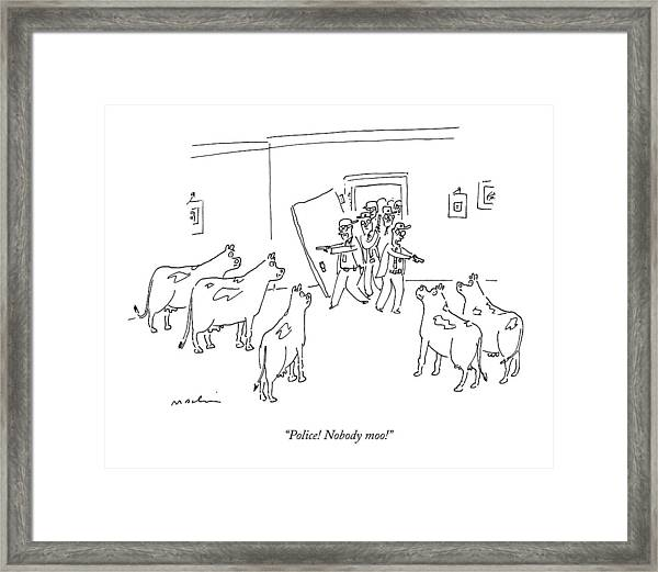 Police Burst In With Guns To A Room Filled Framed Print