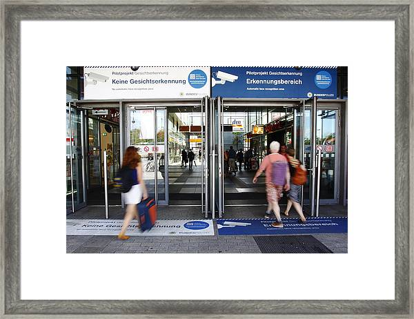 Police Test Facial Recognition Software At Berlin Train Station Framed Print by Michele Tantussi