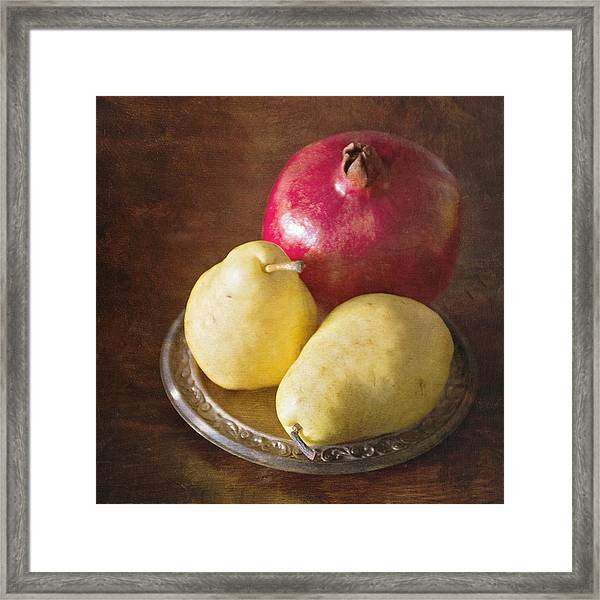 Pomegranate And Yellow Pear Still Life Framed Print
