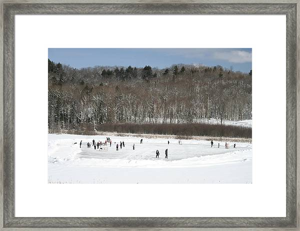 Pond Hockey Muskoka Framed Print by Carolyn Reinhart
