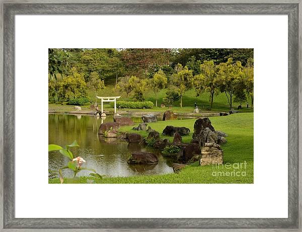 Pond Rocks Grass And Japanese Arch Singapore Framed Print