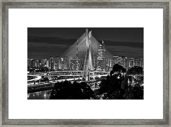 Sao Paulo - Ponte Octavio Frias De Oliveira By Night In Black And White Framed Print