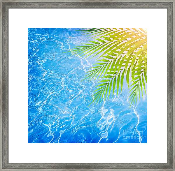 Poolside On Tropical Beach Framed Print by Anna Om