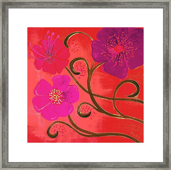 Pop Spring Purple Flowers Framed Print