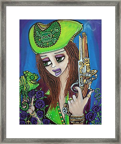 Poppet Pirate At Chameleon Cove Framed Print by Laura Barbosa