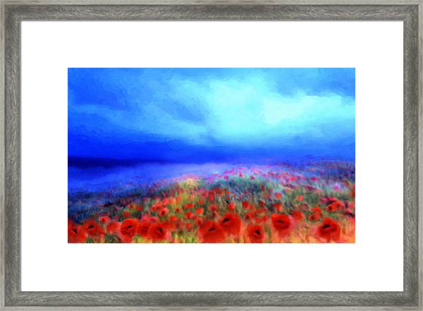 Poppies In The Mist Framed Print
