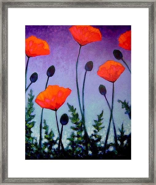 Poppies In The Sky II Framed Print