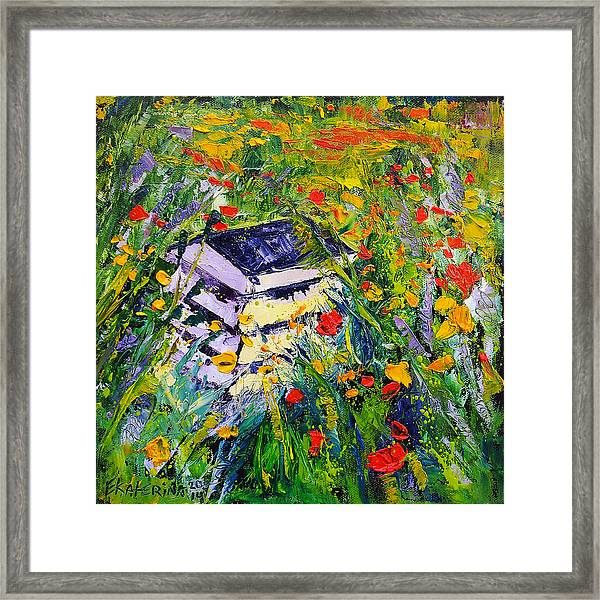 Poppy Field Oil Painting Framed Print