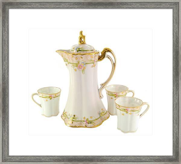 Porcelain Pitcher And Cups Framed Print
