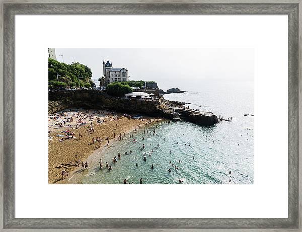 Port Vieux Beach, Biarritz, Aquitaine Framed Print