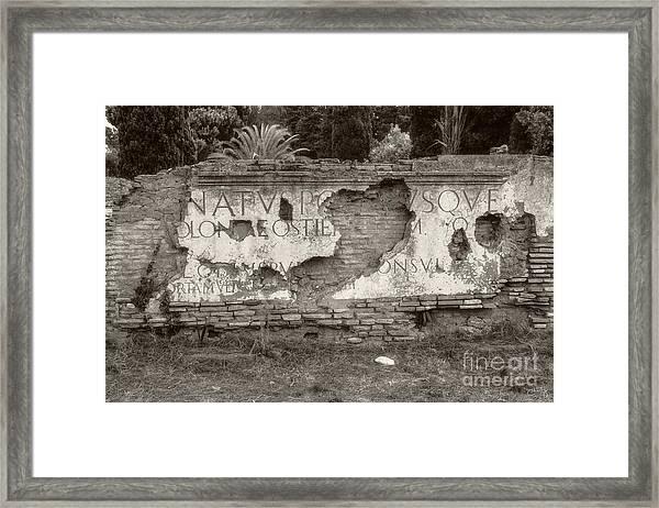 Porta Romana In Sepia Framed Print