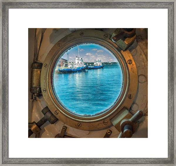 Framed Print featuring the photograph Hmcs Haida Porthole  by Garvin Hunter