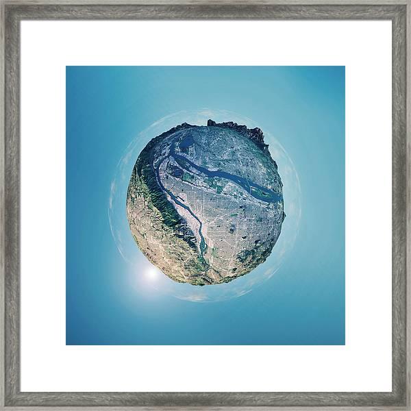 Portland 3d Little Planet 360-degree Sphere Panorama Framed Print by FrankRamspott