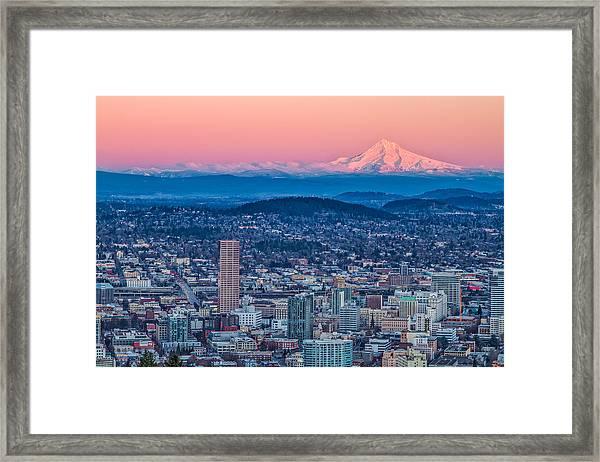 Portland And Mt Hood Framed Print
