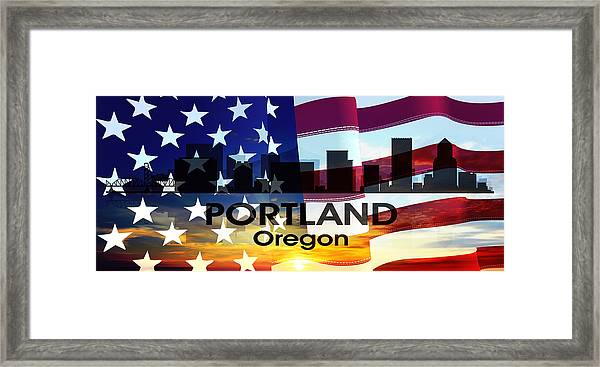 Portland Or Patriotic Large Cityscape  Framed Print