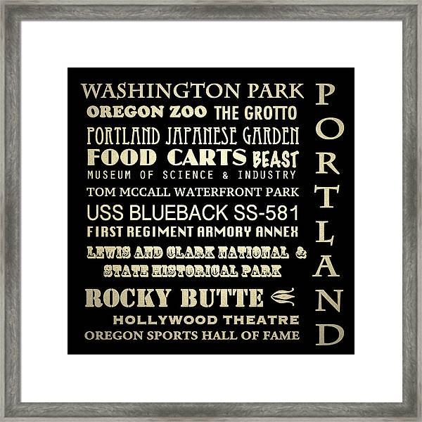 Portland Oregon Famous Landmarks Framed Print