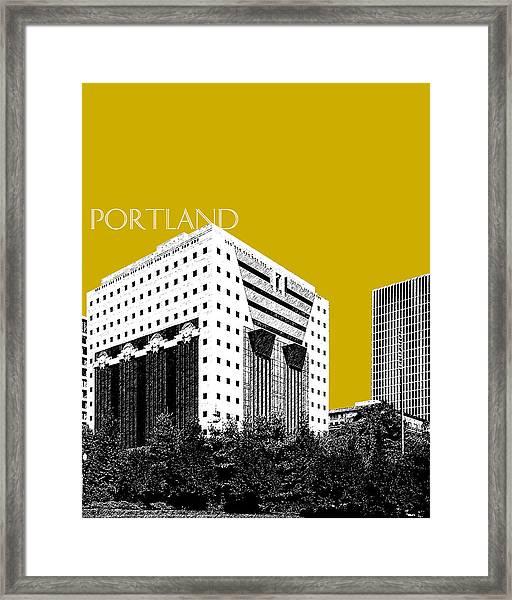 Portland Skyline Ficha Building - Gold Framed Print