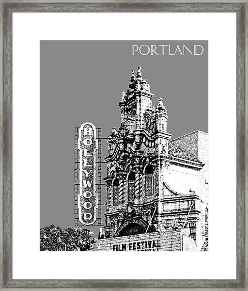 Portland Skyline Hollywood Theater - Pewter Framed Print
