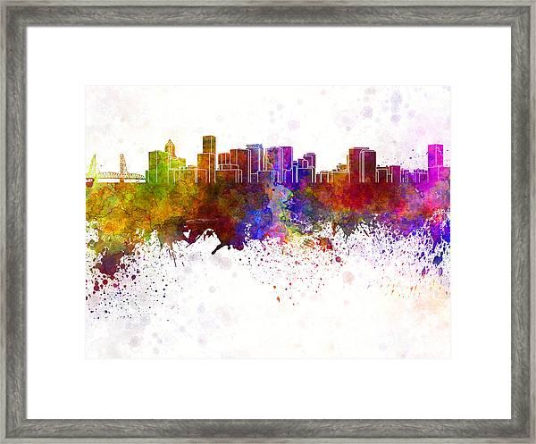 Portland Skyline In Watercolor Background Framed Print