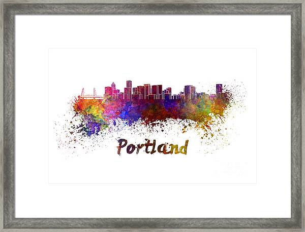 Portland Skyline In Watercolor Framed Print