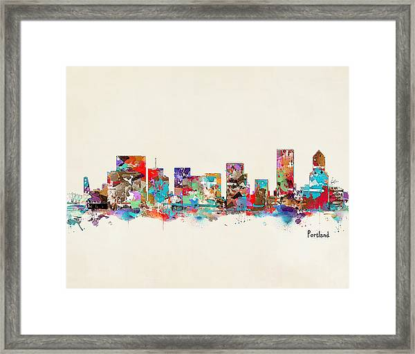 Portland Skyline Oregon Framed Print