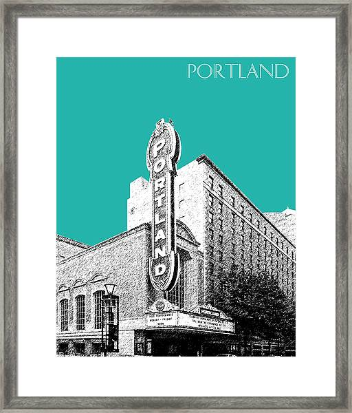 Portland Skyline Portland Theater - Teal Framed Print