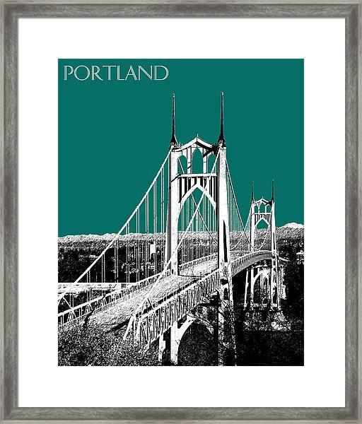 Portland Skyline St. Johns Bridge - Sea Green Framed Print