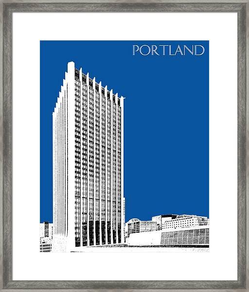 Portland Skyline Wells Fargo Building - Royal Blue Framed Print