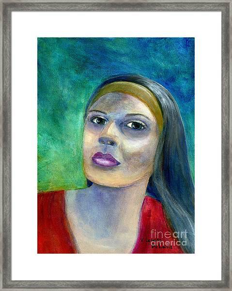 Portrait Art Woman In Red Framed Print