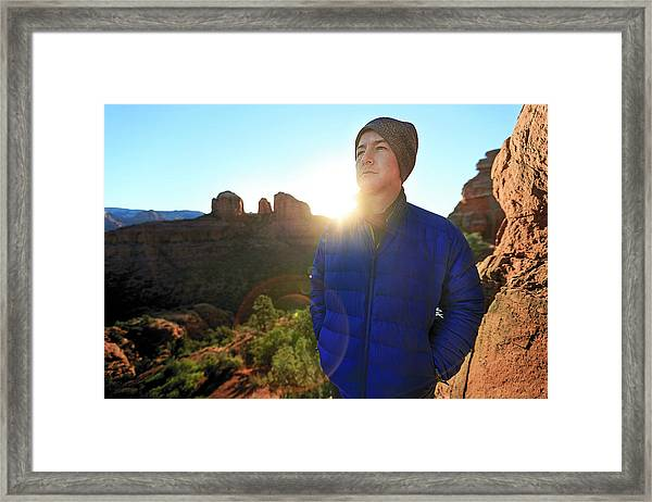 Portrait Of A Male Hiker In Sedona Framed Print