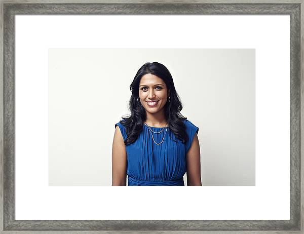 Portrait Of A Young Mixed Race Business Woman Framed Print by Ezra Bailey