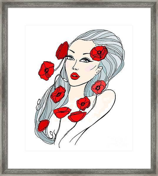 Portrait Of Beautiful Young Woman Framed Print by Lolya1988
