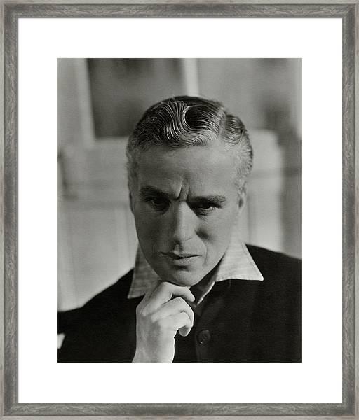 Portrait Of Charlie Chaplin Framed Print by George Hoyningen-Huene