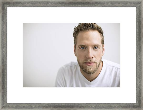 Portrait Of Confident Man With Blonde Beard Framed Print by Hero Images