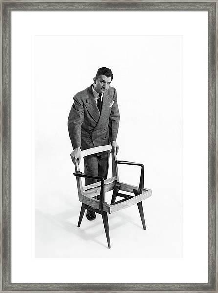 Portrait Of Furniture Designer Jens Risom Framed Print by Herbert Matter