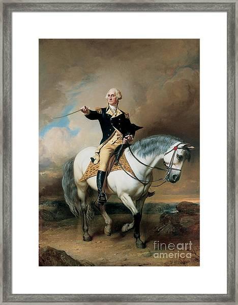 Portrait Of George Washington Taking The Salute At Trenton Framed Print