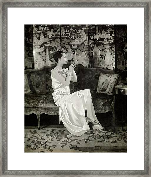 Portrait Of Ilka Chase Wearing Dress By Chanel Framed Print by Charles Sheeler
